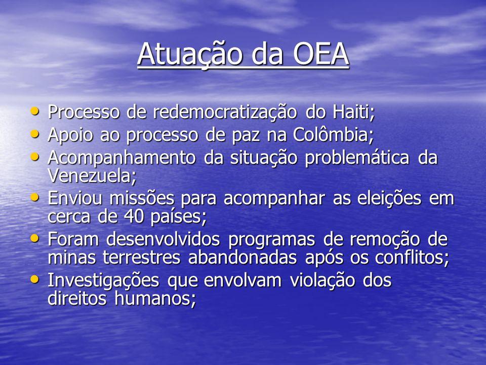 Atuação da OEA Processo de redemocratização do Haiti; Processo de redemocratização do Haiti; Apoio ao processo de paz na Colômbia; Apoio ao processo d