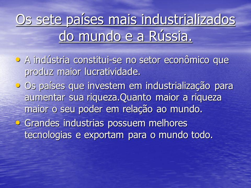 Os sete países mais industrializados do mundo e a Rússia. A indústria constitui-se no setor econômico que produz maior lucratividade. A indústria cons