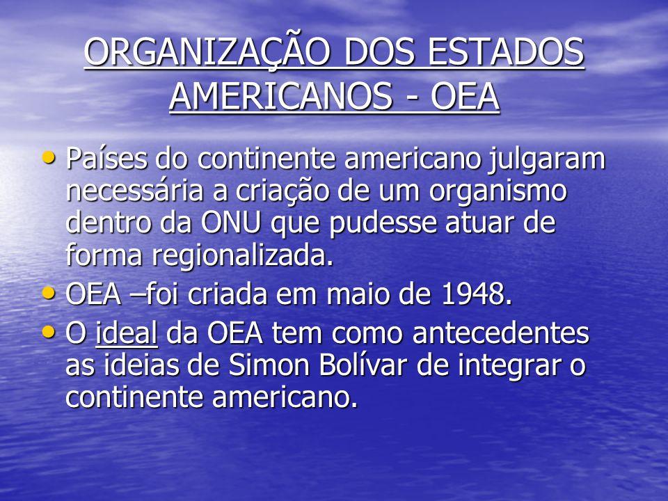 ORGANIZAÇÃO DOS ESTADOS AMERICANOS - OEA Países do continente americano julgaram necessária a criação de um organismo dentro da ONU que pudesse atuar