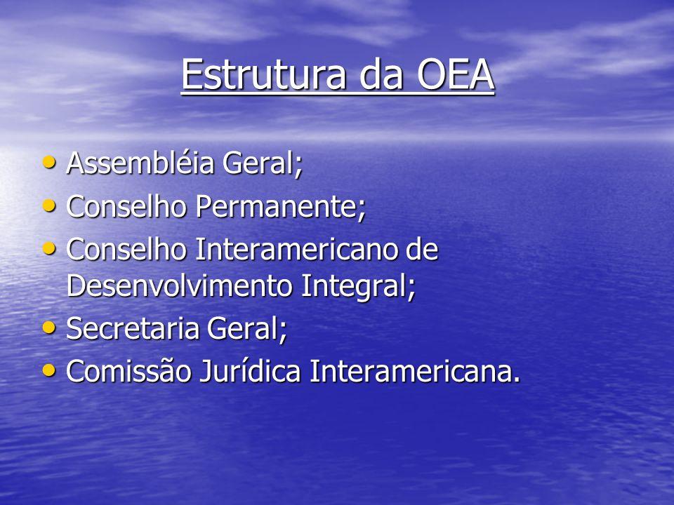 Estrutura da OEA Assembléia Geral; Assembléia Geral; Conselho Permanente; Conselho Permanente; Conselho Interamericano de Desenvolvimento Integral; Co
