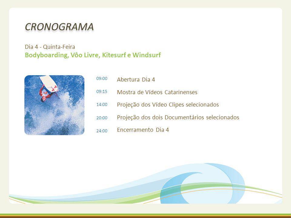 CRONOGRAMA Dia 4 - Quinta-Feira Bodyboarding, Vôo Livre, Kitesurf e Windsurf Abertura Dia 4 Mostra de Vídeos Catarinenses Projeção dos Vídeo Clipes se