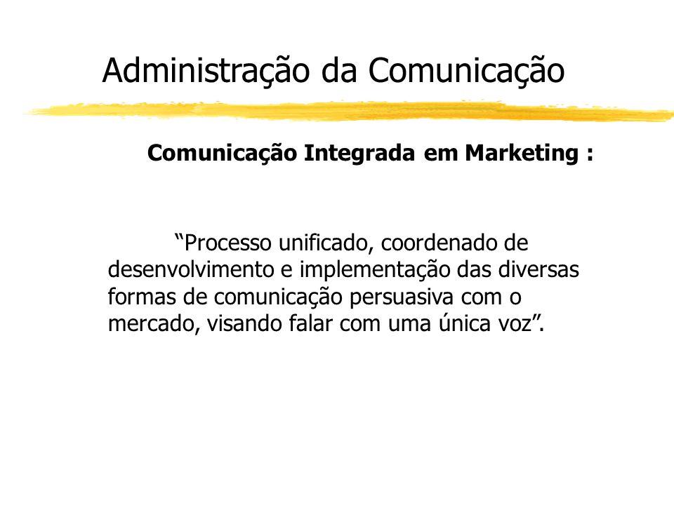 """Administração da Comunicação Comunicação Integrada em Marketing : """"Processo unificado, coordenado de desenvolvimento e implementação das diversas form"""
