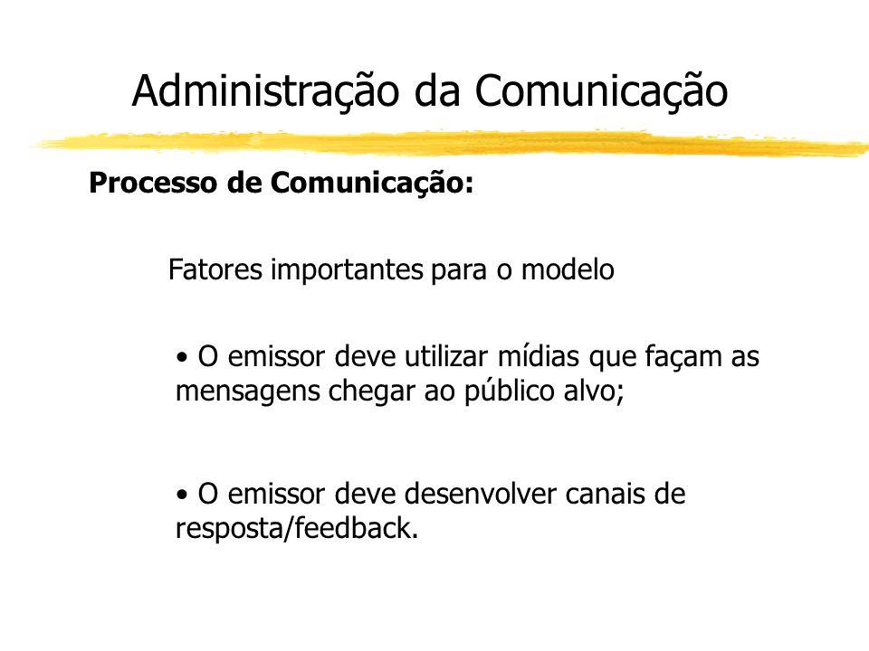 Administração da Comunicação Processo de Comunicação: Fatores importantes para o modelo O emissor deve utilizar mídias que façam as mensagens chegar a
