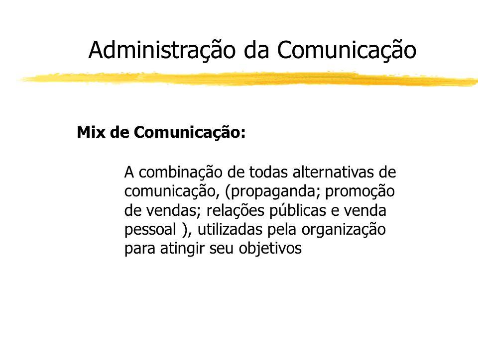 Administração da Comunicação Mix de Comunicação: A combinação de todas alternativas de comunicação, (propaganda; promoção de vendas; relações públicas