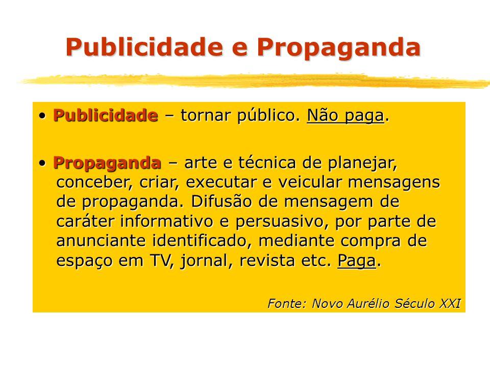 Publicidade – tornar público. Não paga. Publicidade – tornar público. Não paga. Propaganda – arte e técnica de planejar, conceber, criar, executar e v