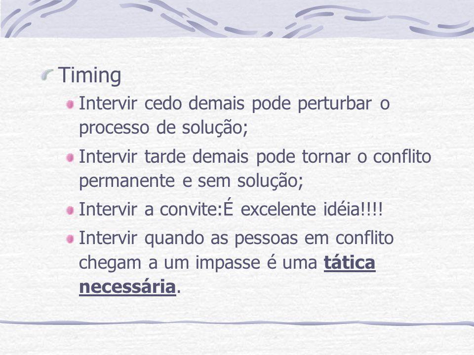 Timing Intervir cedo demais pode perturbar o processo de solução; Intervir tarde demais pode tornar o conflito permanente e sem solução; Intervir a co