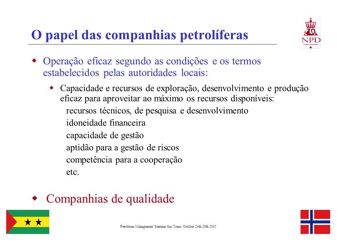 Petroleum Management Seminar Sao Tome, October 24th-28th 200511 O papel das companhias petrolíferas  Operação eficaz segundo as condições e os termos