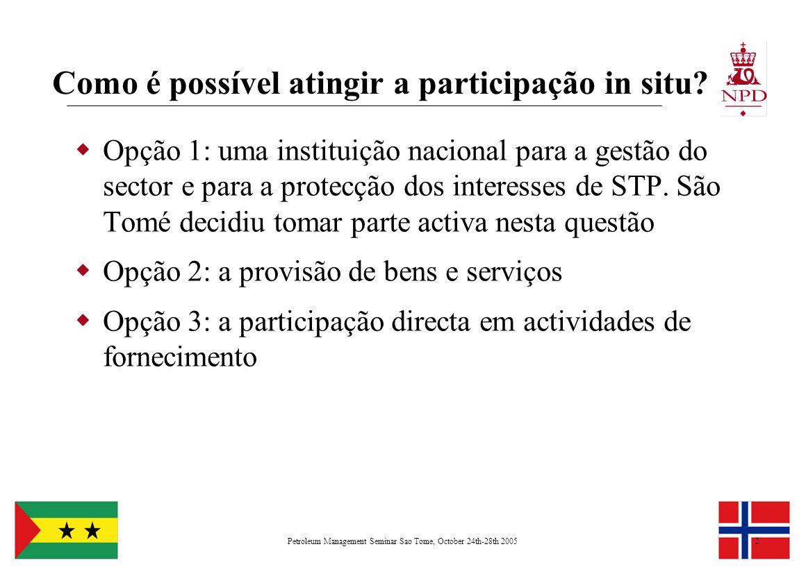 Petroleum Management Seminar Sao Tome, October 24th-28th 20052 Como é possível atingir a participação in situ?  Opção 1: uma instituição nacional par