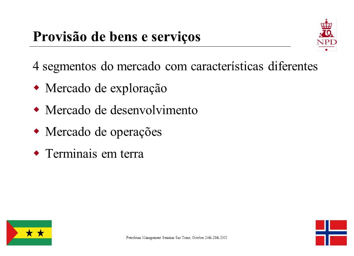 Petroleum Management Seminar Sao Tome, October 24th-28th 20053 Provisão de bens e serviços 4 segmentos do mercado com características diferentes  Mer