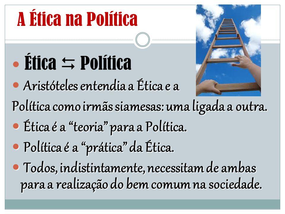 """A Ética na Política Ética  Política Aristóteles entendia a Ética e a Política como irmãs siamesas: uma ligada a outra. Ética é a """"teoria"""" para a Polí"""