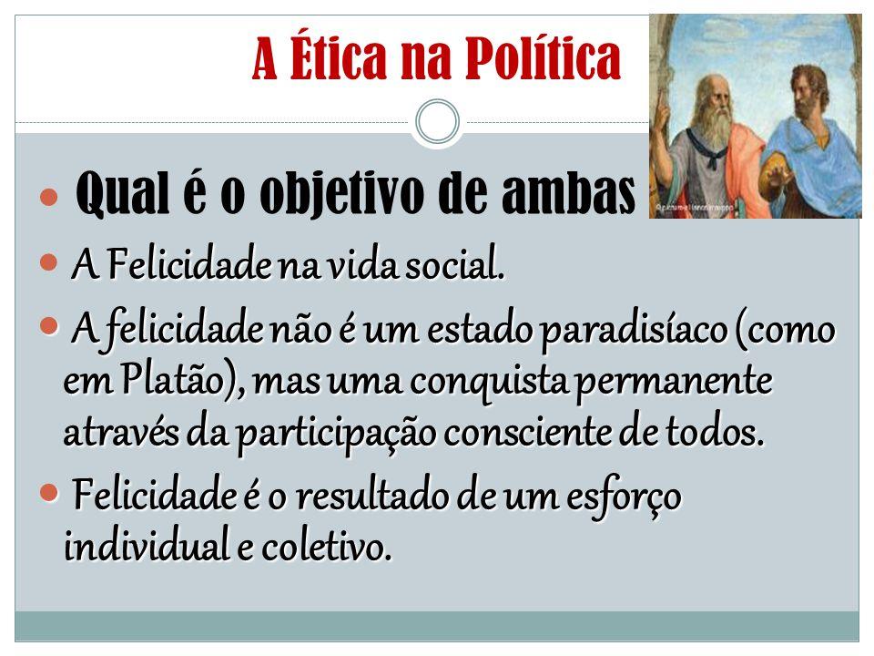 A Ética na Política Qual é o objetivo de ambas A Felicidade na vida social. A felicidade não é um estado paradisíaco (como em Platão), mas uma conquis