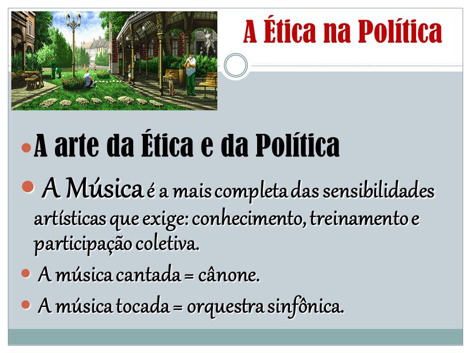 A Ética na Política A arte da Ética e da Política A Música é a mais completa das sensibilidades artísticas que exige: conhecimento, treinamento e part