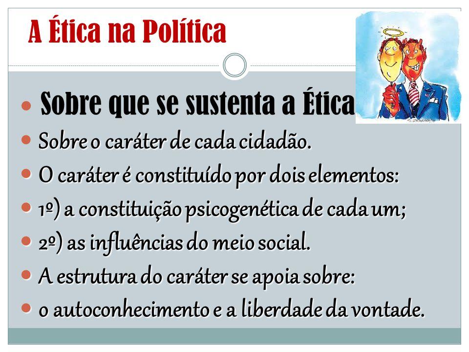 A Ética na Política Sobre que se sustenta a Ética Sobre o caráter de cada cidadão. O caráter é constituído por dois elementos: O caráter é constituído