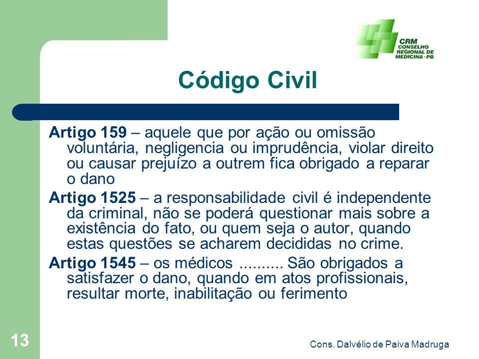 Cons. Dalvélio de Paiva Madruga 13 Código Civil Artigo 159 – aquele que por ação ou omissão voluntária, negligencia ou imprudência, violar direito ou