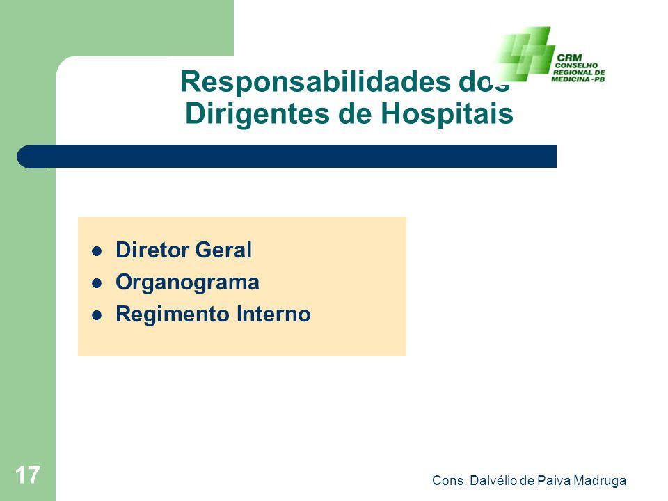 Cons. Dalvélio de Paiva Madruga 17 Responsabilidades dos Dirigentes de Hospitais Diretor Geral Organograma Regimento Interno