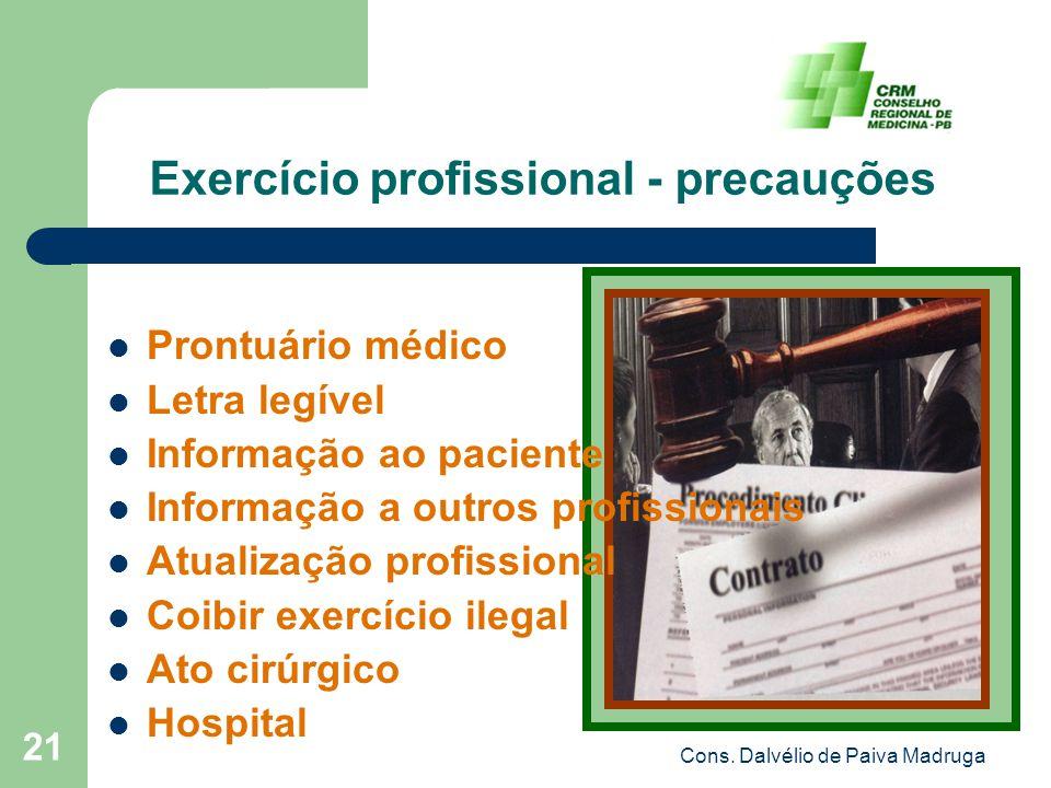 Cons. Dalvélio de Paiva Madruga 21 Exercício profissional - precauções Prontuário médico Letra legível Informação ao paciente Informação a outros prof