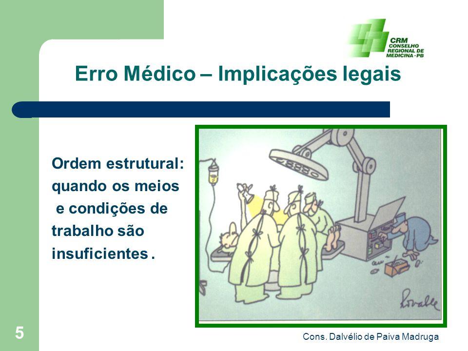Cons. Dalvélio de Paiva Madruga 5 Erro Médico – Implicações legais Ordem estrutural: quando os meios e condições de trabalho são insuficientes.