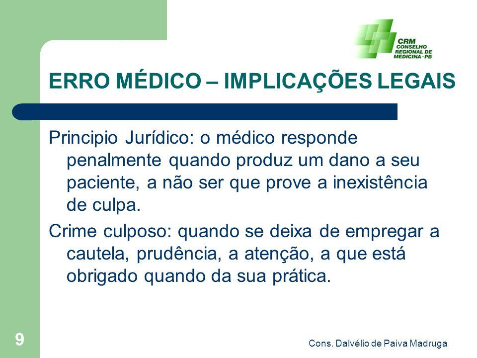 Cons. Dalvélio de Paiva Madruga 9 ERRO MÉDICO – IMPLICAÇÕES LEGAIS Principio Jurídico: o médico responde penalmente quando produz um dano a seu pacien