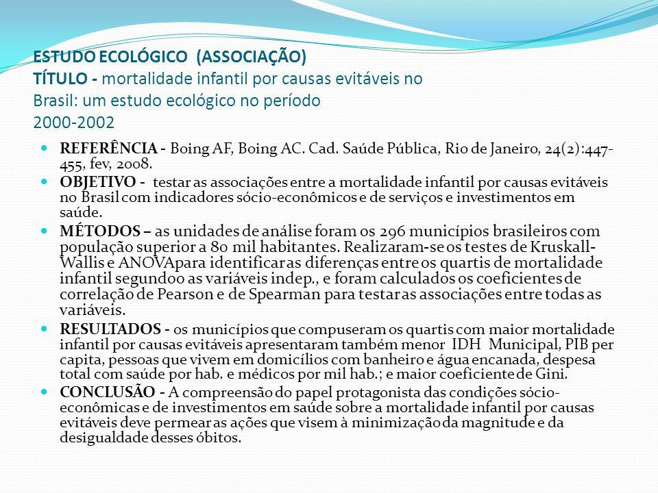 ESTUDO ECOLÓGICO (ASSOCIAÇÃO) TÍTULO - mortalidade infantil por causas evitáveis no Brasil: um estudo ecológico no período 2000-2002 REFERÊNCIA - Boin