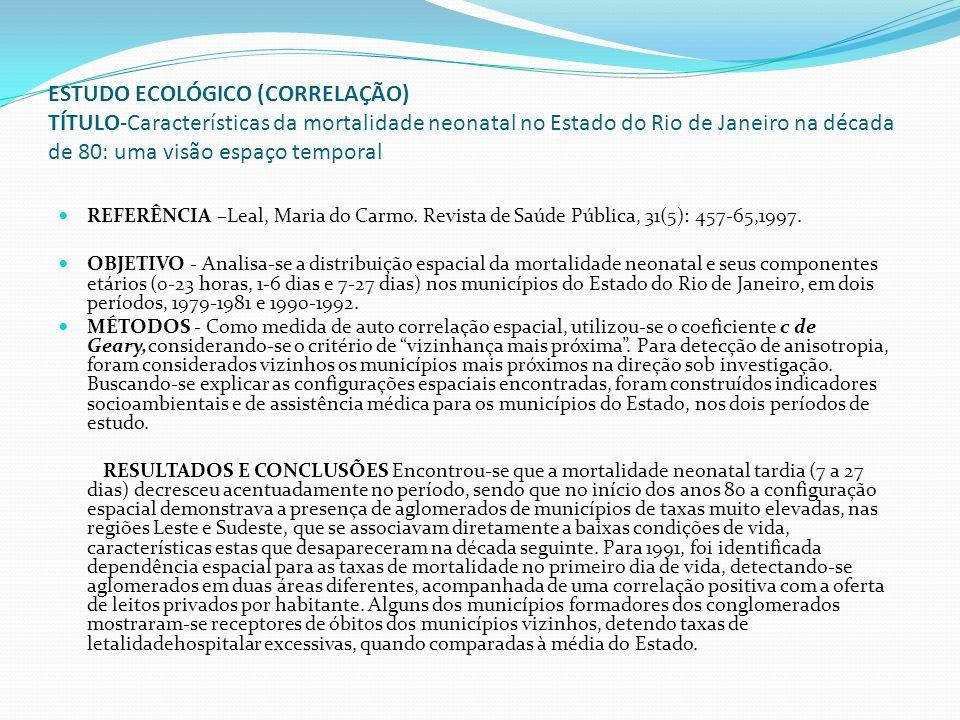 ESTUDO ECOLÓGICO (CORRELAÇÃO) TÍTULO-Características da mortalidade neonatal no Estado do Rio de Janeiro na década de 80: uma visão espaço temporal RE