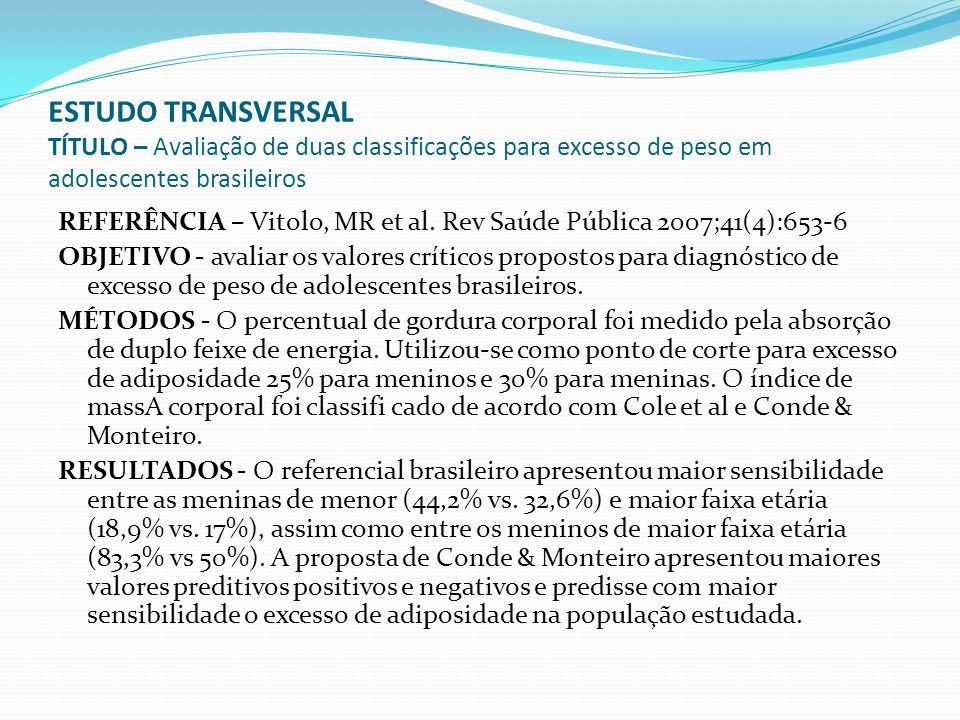 ESTUDO TRANSVERSAL TÍTULO – Avaliação de duas classificações para excesso de peso em adolescentes brasileiros REFERÊNCIA – Vitolo, MR et al. Rev Saúde
