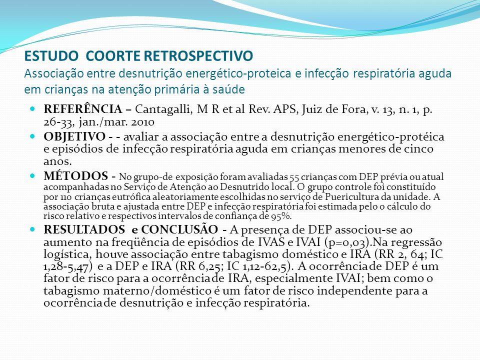 ESTUDO COORTE RETROSPECTIVO Associação entre desnutrição energético-proteica e infecção respiratória aguda em crianças na atenção primária à saúde REF