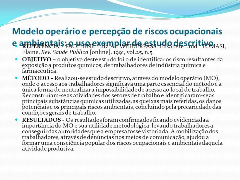 Modelo operário e percepção de riscos ocupacionais e ambientais: o uso exemplar de estudo descritivo REFERÊNCIA - FACCHINI, Luiz A.; WEIDERPASS, Elisa
