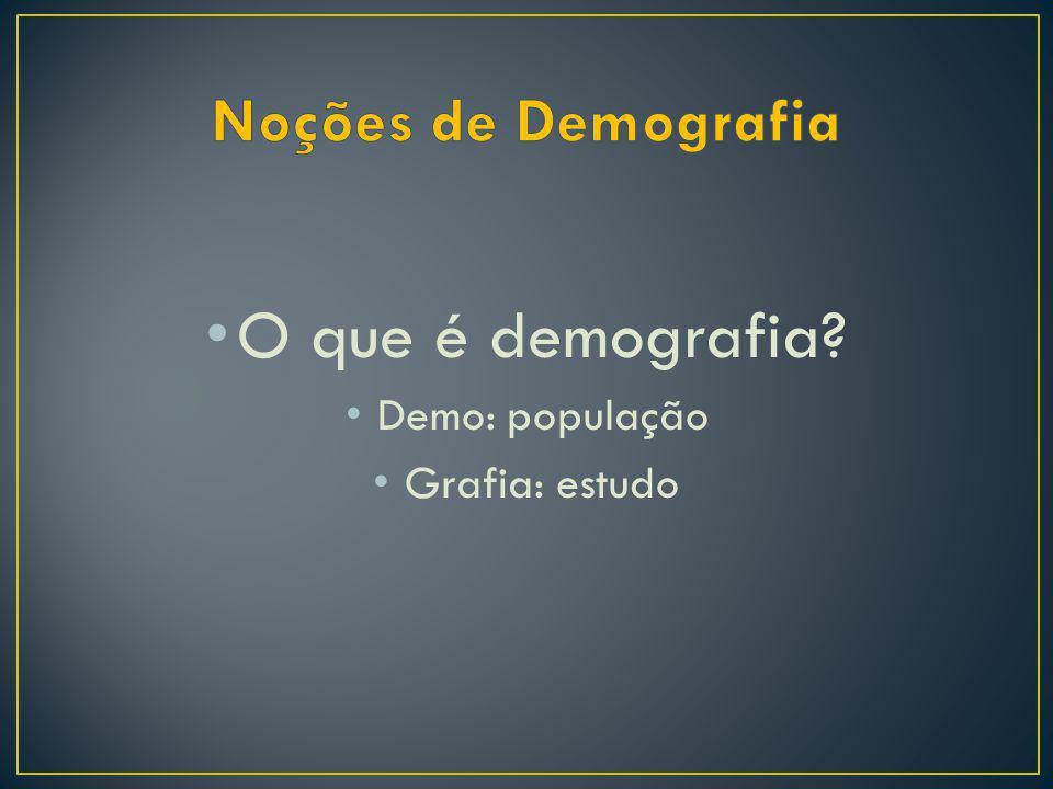 O que é demografia? Demo: população Grafia: estudo