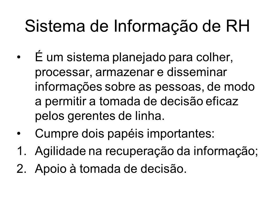 Sistema de Informação de RH É um sistema planejado para colher, processar, armazenar e disseminar informações sobre as pessoas, de modo a permitir a tomada de decisão eficaz pelos gerentes de linha.