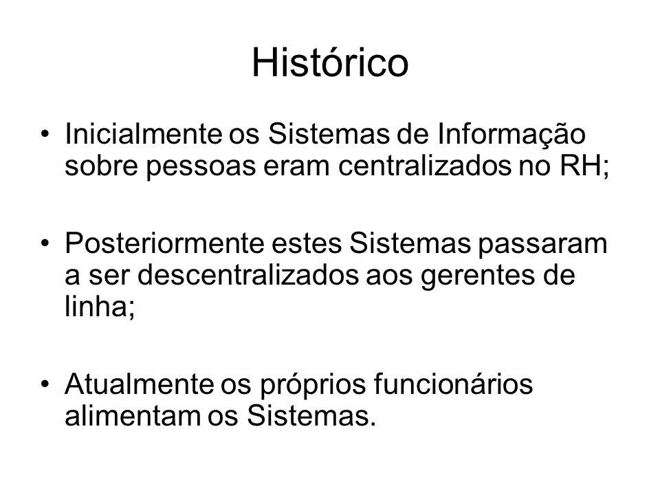 Histórico Inicialmente os Sistemas de Informação sobre pessoas eram centralizados no RH; Posteriormente estes Sistemas passaram a ser descentralizados aos gerentes de linha; Atualmente os próprios funcionários alimentam os Sistemas.