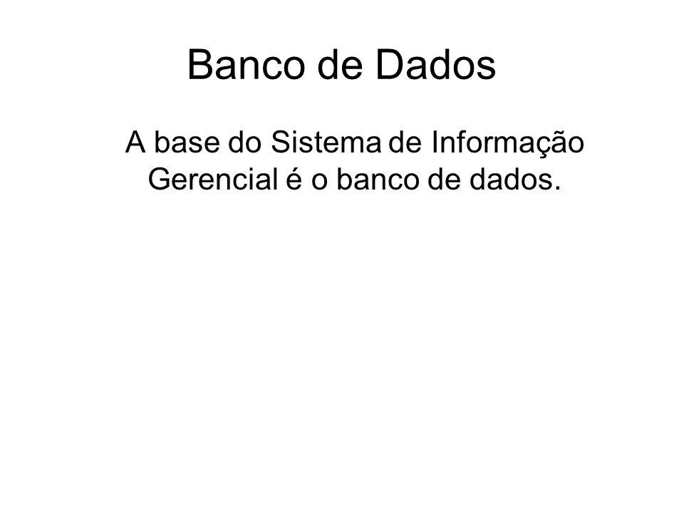 Banco de Dados A base do Sistema de Informação Gerencial é o banco de dados.