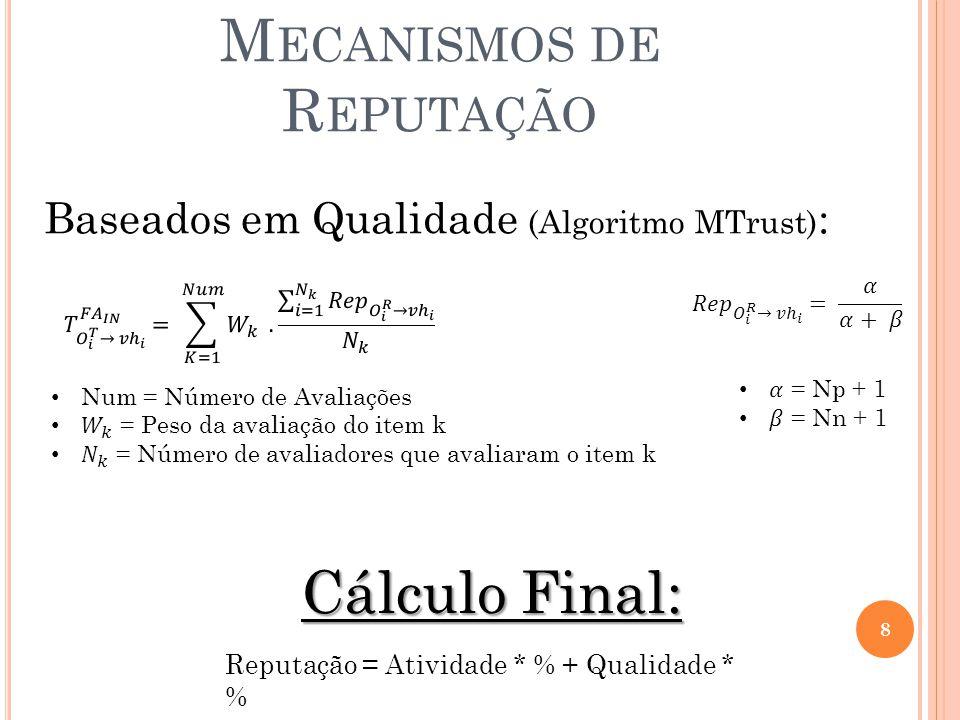 M ECANISMOS DE R EPUTAÇÃO 8 Baseados em Qualidade (Algoritmo MTrust) : Cálculo Final: Reputação = Atividade * % + Qualidade * %