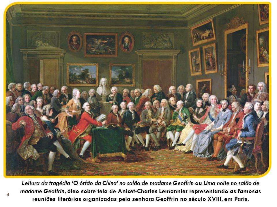Repare em dois homens: um deles, de casaco vermelho, à direita do ator Lekain; o outro, de pé, por trás do homem sentado de casaco verde.