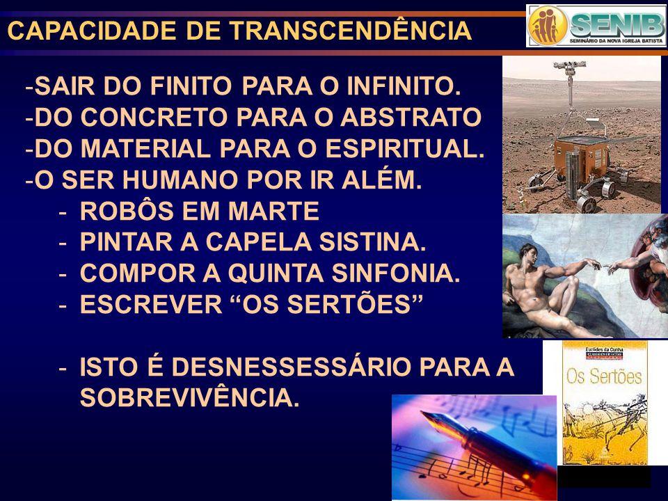CAPACIDADE DE TRANSCENDÊNCIA -SAIR DO FINITO PARA O INFINITO.