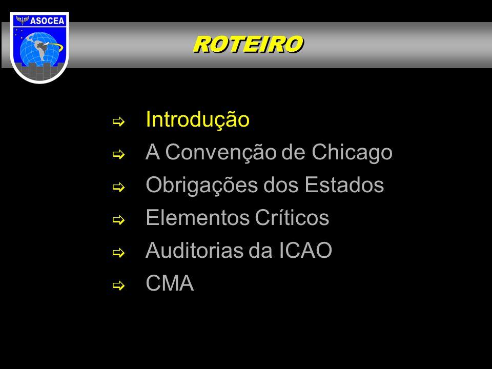  Introdução  A Convenção de Chicago  Obrigações dos Estados  Elementos Críticos  Auditorias da ICAO  CMA ROTEIRO