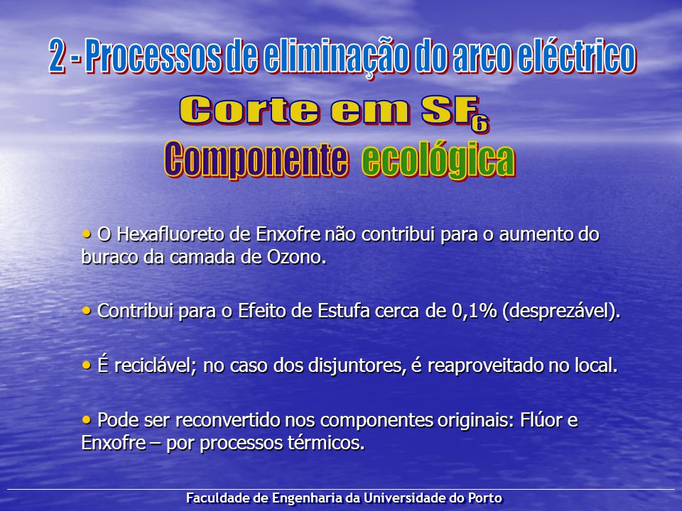 Faculdade de Engenharia da Universidade do Porto O Hexafluoreto de Enxofre não contribui para o aumento do buraco da camada de Ozono. O Hexafluoreto d