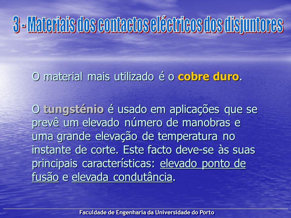 Faculdade de Engenharia da Universidade do Porto O material mais utilizado é o cobre duro. O tungsténio é usado em aplicações que se prevê um elevado