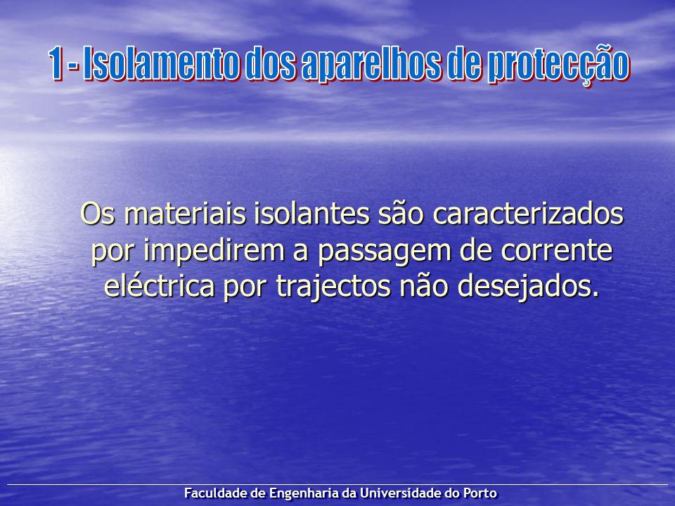 Faculdade de Engenharia da Universidade do Porto Os materiais isolantes são caracterizados por impedirem a passagem de corrente eléctrica por trajecto