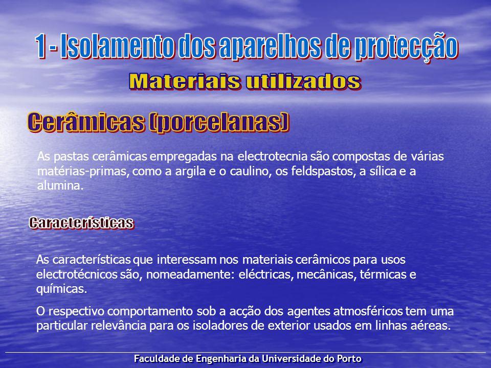 Faculdade de Engenharia da Universidade do Porto As pastas cerâmicas empregadas na electrotecnia são compostas de várias matérias-primas, como a argil