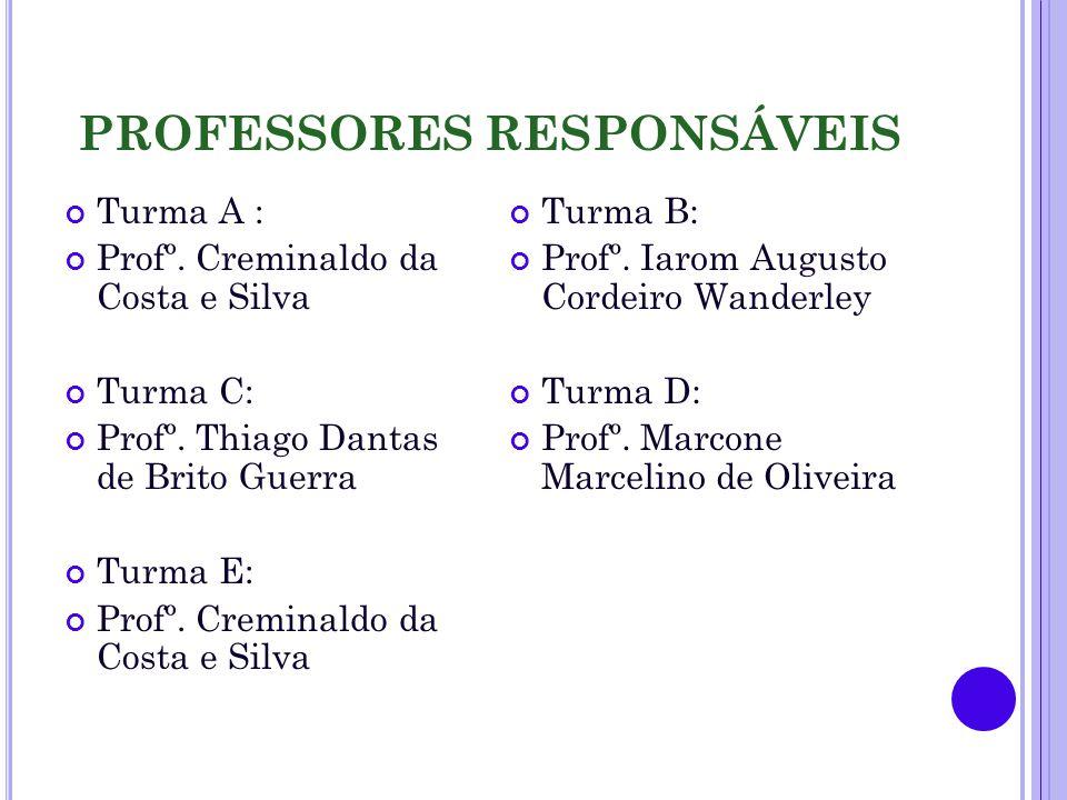 PROFESSORES RESPONSÁVEIS Turma A : Profº. Creminaldo da Costa e Silva Turma C: Profº.