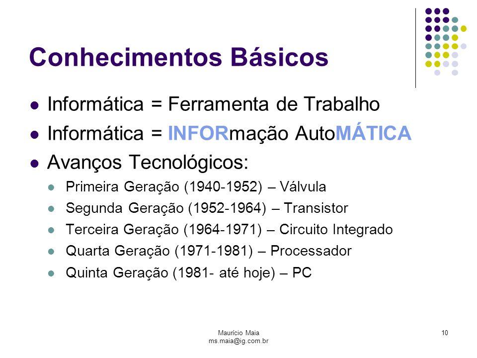 Maurício Maia ms.maia@ig.com.br 10 Conhecimentos Básicos Informática = Ferramenta de Trabalho Informática = INFORmação AutoMÁTICA Avanços Tecnológicos: Primeira Geração (1940-1952) – Válvula Segunda Geração (1952-1964) – Transistor Terceira Geração (1964-1971) – Circuito Integrado Quarta Geração (1971-1981) – Processador Quinta Geração (1981- até hoje) – PC