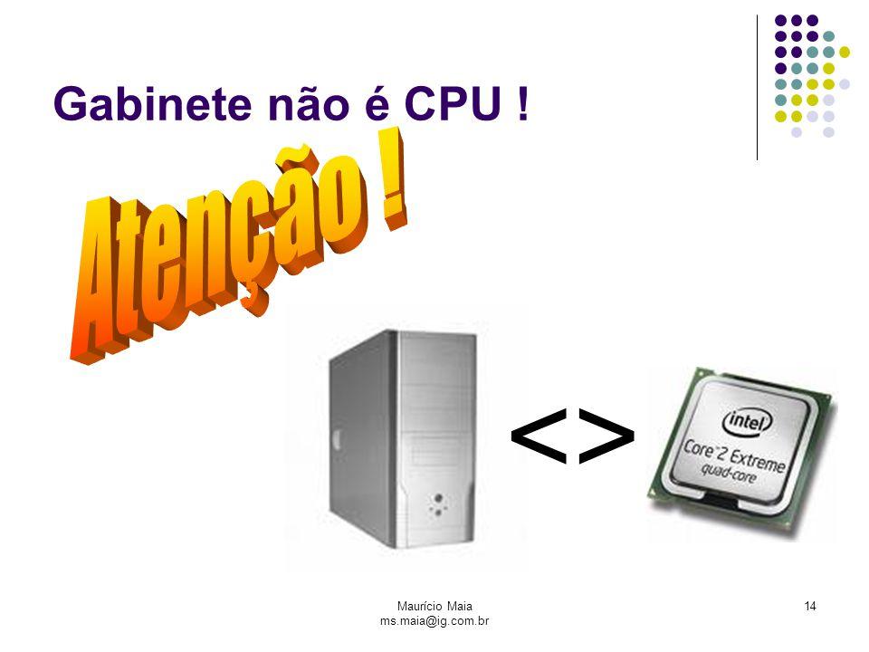 Maurício Maia ms.maia@ig.com.br 14 Gabinete não é CPU ! <>