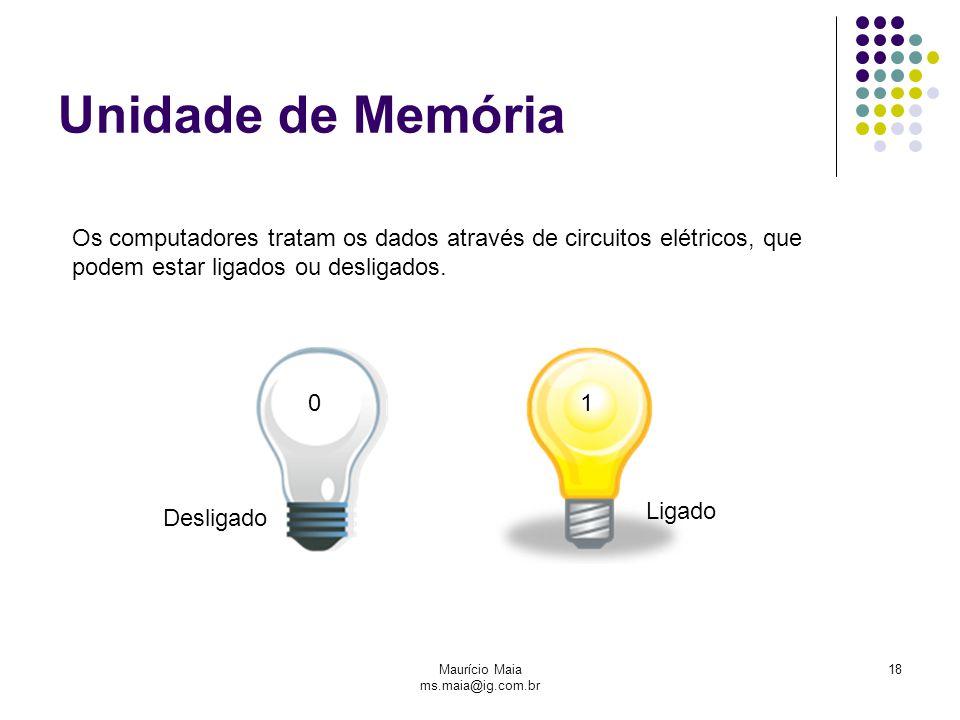 Maurício Maia ms.maia@ig.com.br 18 Unidade de Memória Os computadores tratam os dados através de circuitos elétricos, que podem estar ligados ou desligados.