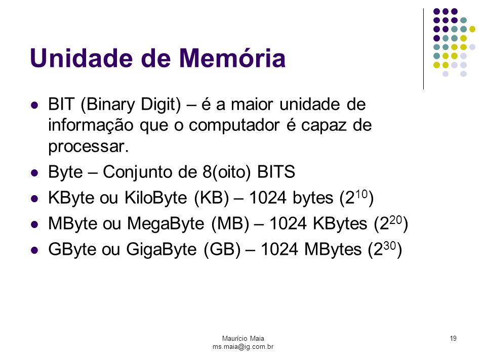 Maurício Maia ms.maia@ig.com.br 19 Unidade de Memória BIT (Binary Digit) – é a maior unidade de informação que o computador é capaz de processar. Byte