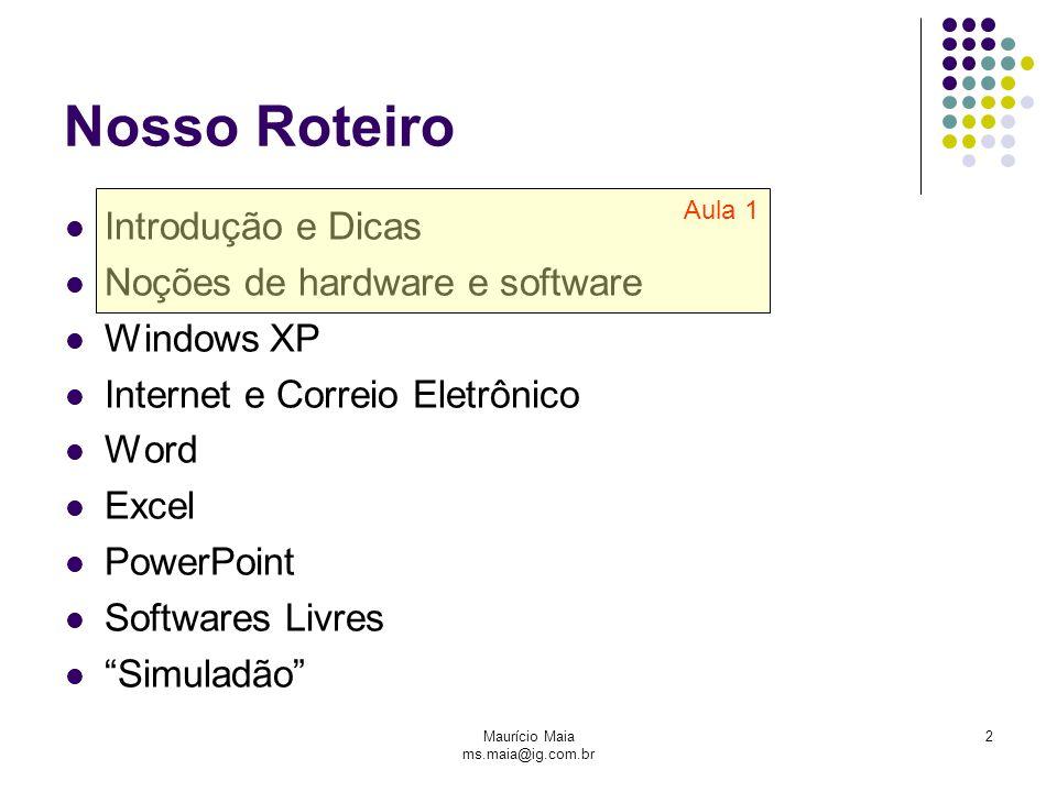 Maurício Maia ms.maia@ig.com.br 23 Dispositivos de Entrada e Saída (Imput / Output) Trata com os meios físicos de armazenamento e entrada/saída de dados.