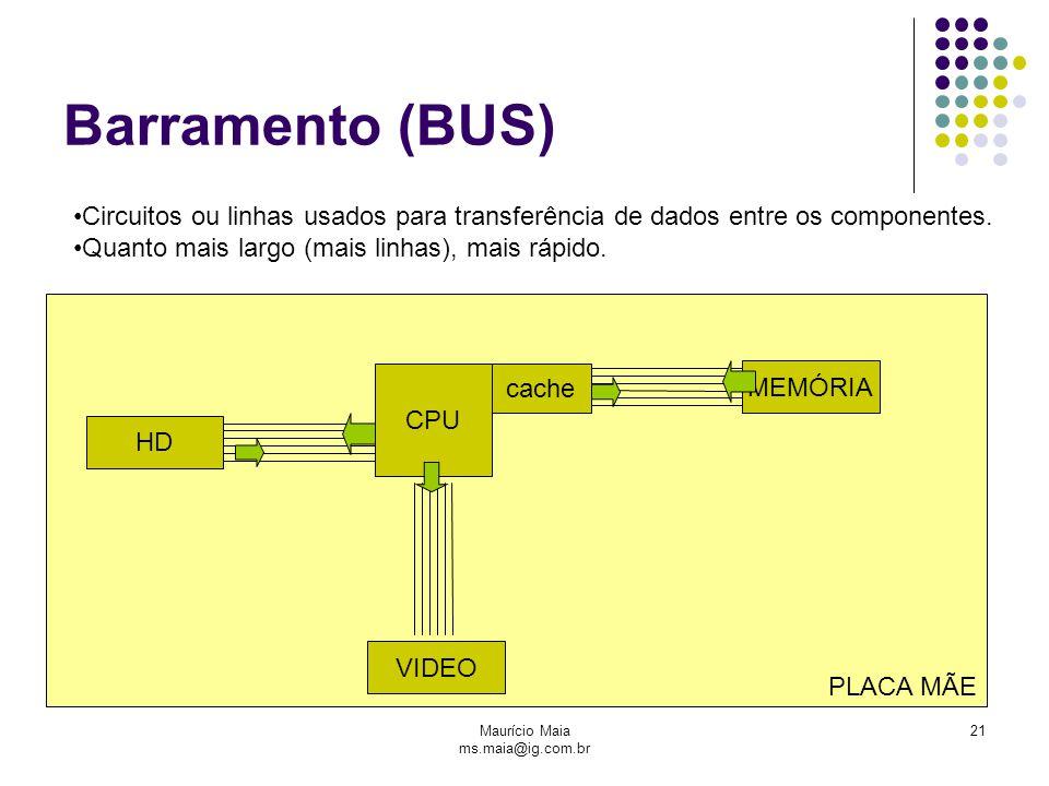 Maurício Maia ms.maia@ig.com.br 21 PLACA MÃE Barramento (BUS) CPU MEMÓRIA VIDEO HD Circuitos ou linhas usados para transferência de dados entre os co