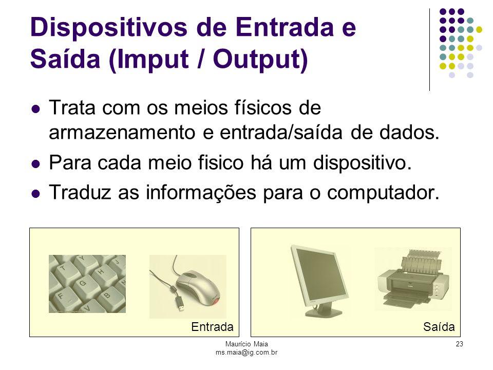 Maurício Maia ms.maia@ig.com.br 23 Dispositivos de Entrada e Saída (Imput / Output) Trata com os meios físicos de armazenamento e entrada/saída de da