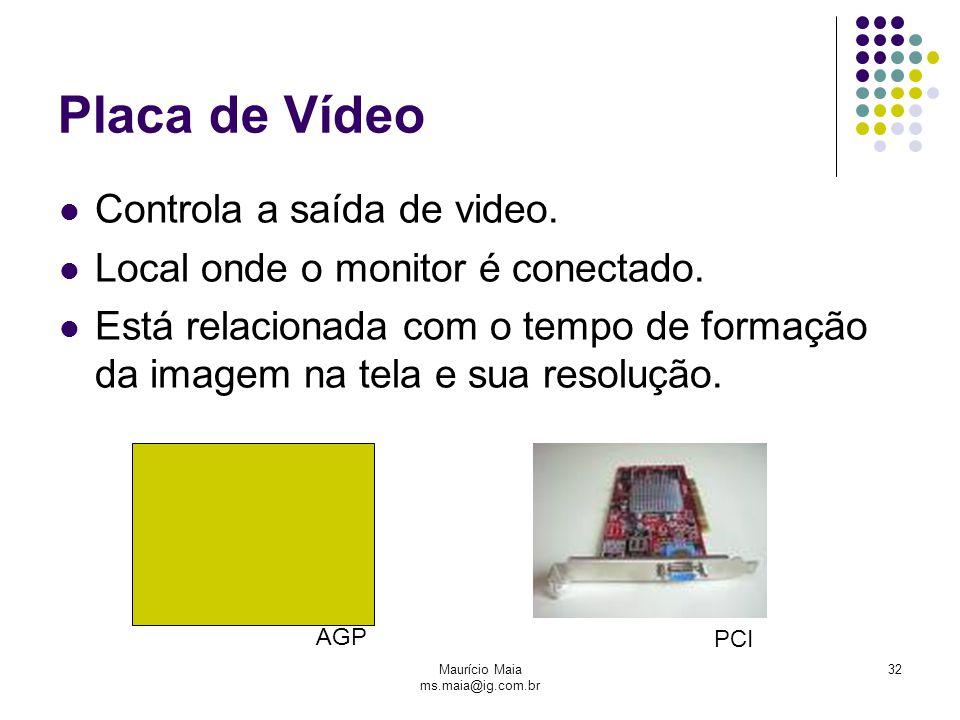 Maurício Maia ms.maia@ig.com.br 32 Placa de Vídeo Controla a saída de video. Local onde o monitor é conectado. Está relacionada com o tempo de formaçã