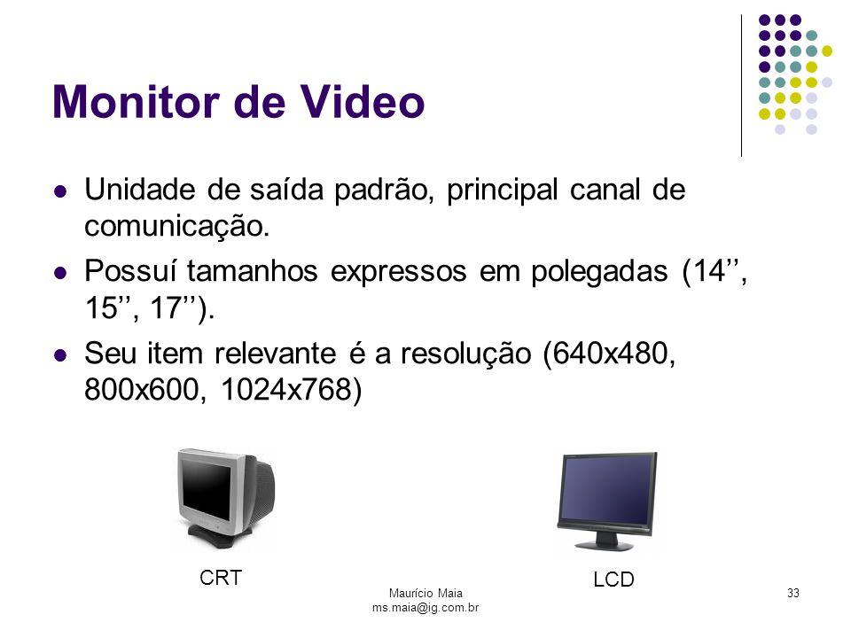 Maurício Maia ms.maia@ig.com.br 33 Monitor de Video Unidade de saída padrão, principal canal de comunicação. Possuí tamanhos expressos em polegadas (1