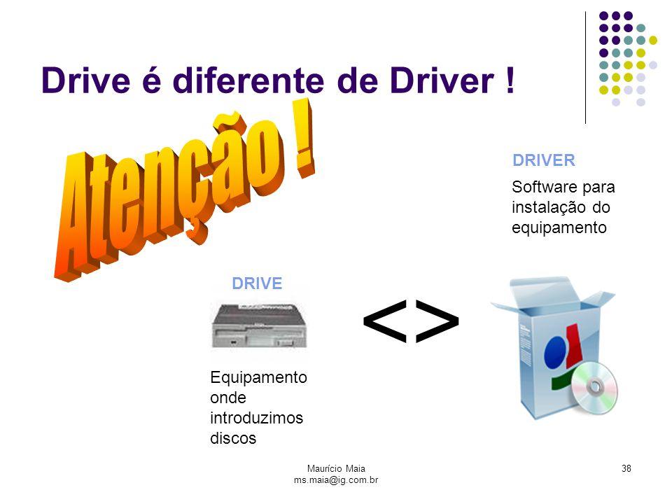 Maurício Maia ms.maia@ig.com.br 38 Drive é diferente de Driver ! <> Equipamento onde introduzimos discos Software para instalação do equipamento DRIVE
